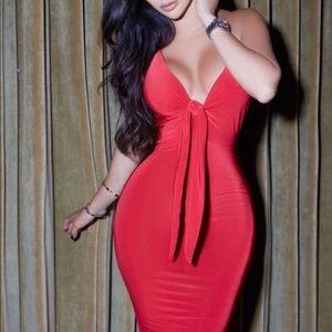 Rebecca Stella Red Tie Bodycon Dress Size Small